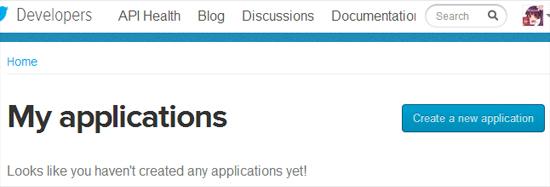 「Create a new application」ボタンをクリックして連動アプリを登録しましょう。
