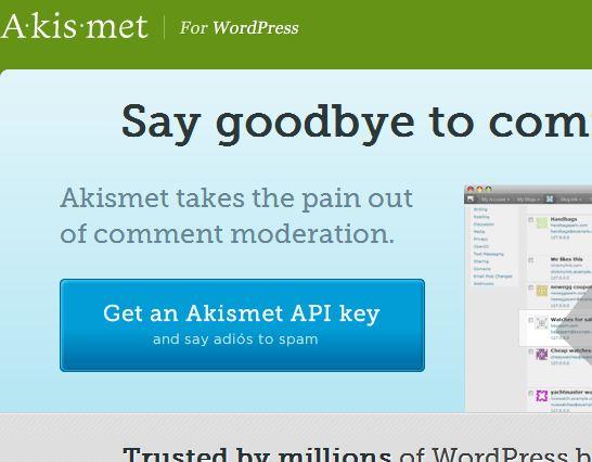 Akismetのサイトです。キーを入手しましょう。