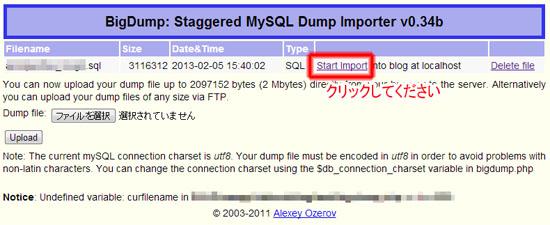 Start Importをクリックすることでインポートが開始されます。